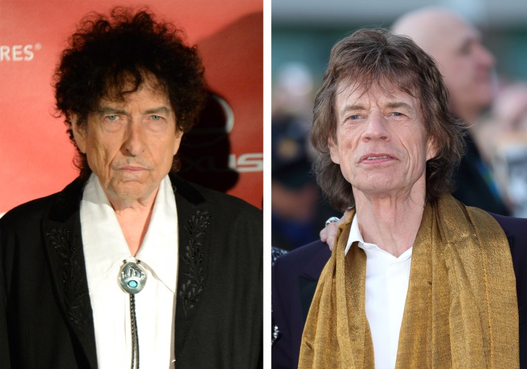 A combo photo of Bob Dylan in Feb. 6, 2015 and Mick Jagger on April 4, 2016.