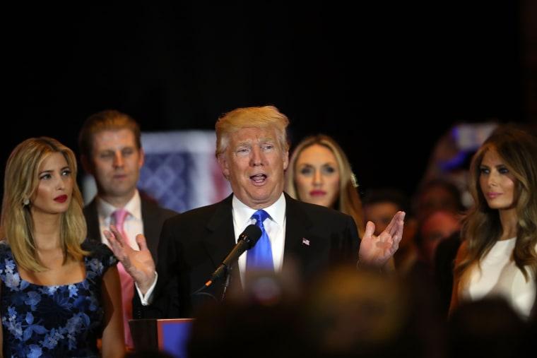 Image: Republican presidential front runner Donald Trump speaks