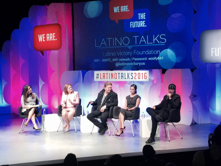 """Actress and activist Eva Longoria leads a panel discussion at Latino Talks 2016. Also on the panel, l to r, Melissa Mark-Viverito, New York City Council president; Fher Olvera, singer, guitarist, composer, Man?; Diane Guerrero, actress, """"Orange is the New Black,""""  and Alejandro """"Alex"""" Gonzalez, Man? drummer."""