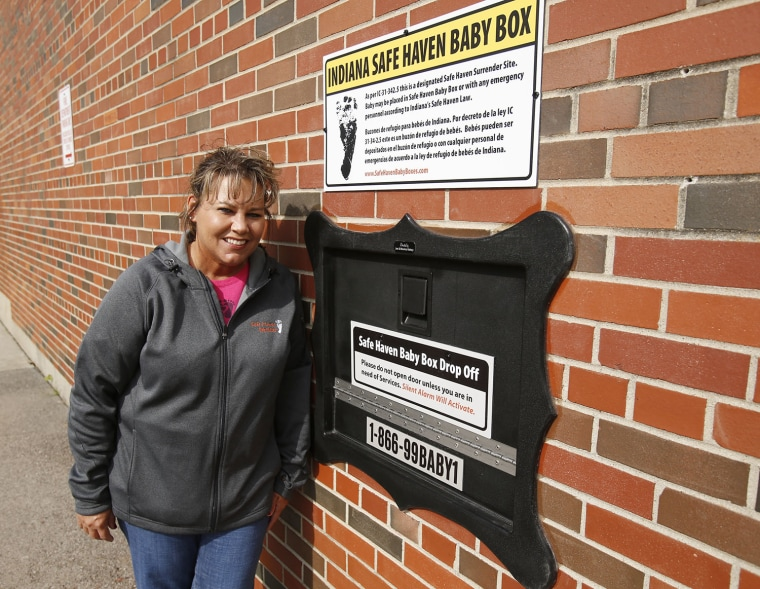 Monica Kelsey and the town of Woodburn, Ind., dedicated the first Safe Haven Baby Box of its kind on Tuesday, April 26.