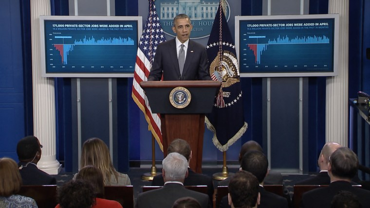 President Obama speaks about the economy at the White House on May 6.