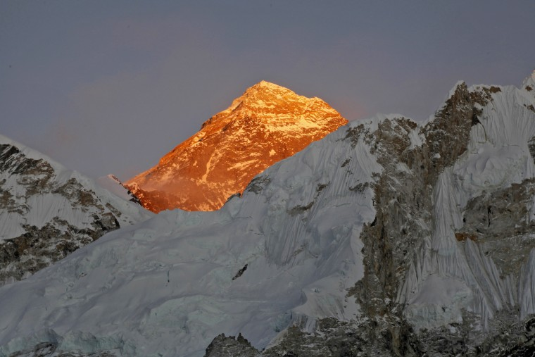 Mt. Everest is lit by the sun as seen on the way to Kalapatthar in Nepal in November 2015.