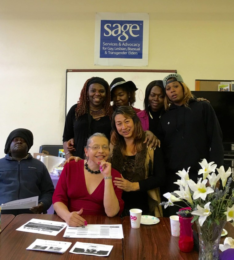 This photo, from Pearl Love's Facebook page, shows Love with her friends and peers at the SAGE Center Harlem.