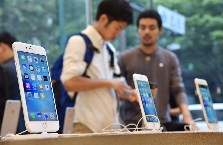 Apple new iPhones are seen  at an Apple Store in Shibuya Ward, Tokyo  on Sept. 25, 2015.