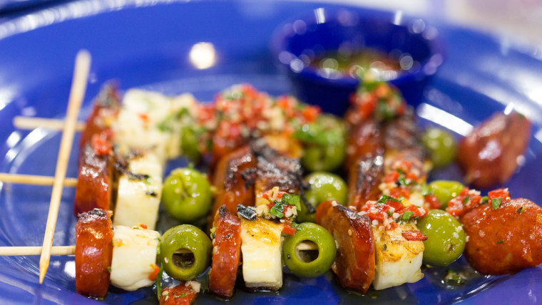 Brian Malarkey's recipe for grilled shrimp skewers with lemon herb vinaigrette and grilled chorizo and haloumi cheese skewers