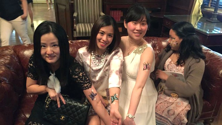 Yiru Sun and her friends at party for low-income families