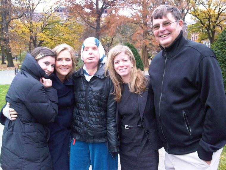 Charla Nash, daughter Briana Nash, brother Steve Nash, Meredith Vieira and NBC producer Stephanie Siegel in November, 2011.