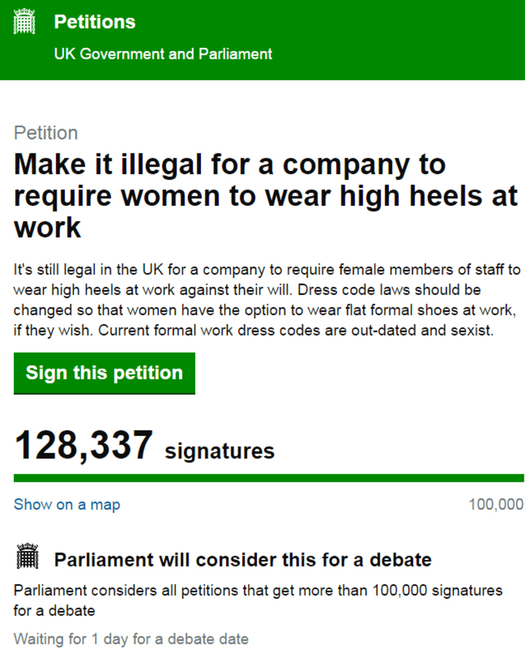 Text of petition to Make it illegal for a company to require women to wear high heels at work