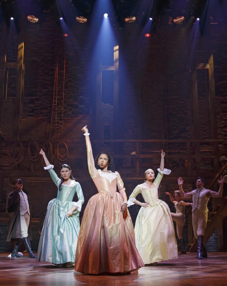 Renée Elise Goldsberry (center) plays Angelica Schuyler in Lin-Manuel Miranda's Broadway smash, 'Hamilton.'