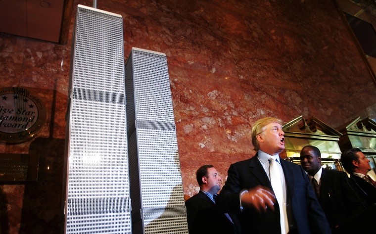 Image:Trump speaks during a news conference presenting a model of a proposed design for the rebuilding of the World Trade Center