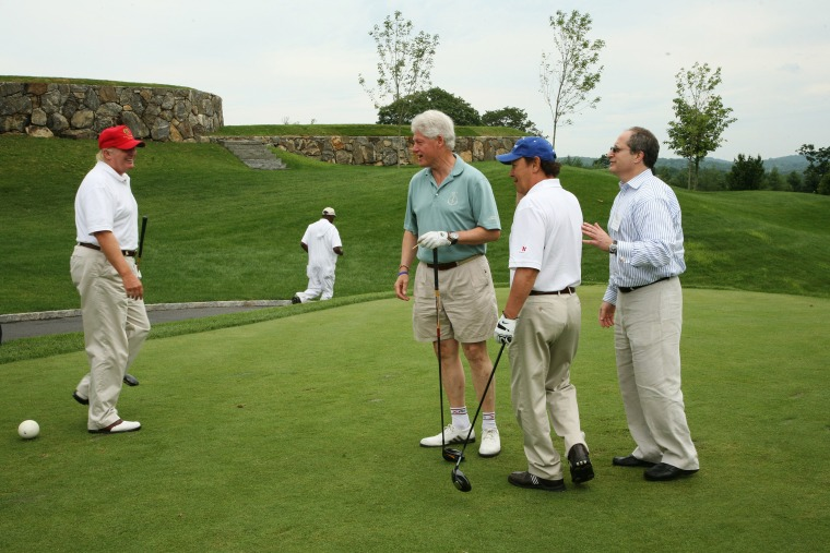 Image: Donald Trump, Bill Clinton, and Billy Crystal at Trump National Golf Club