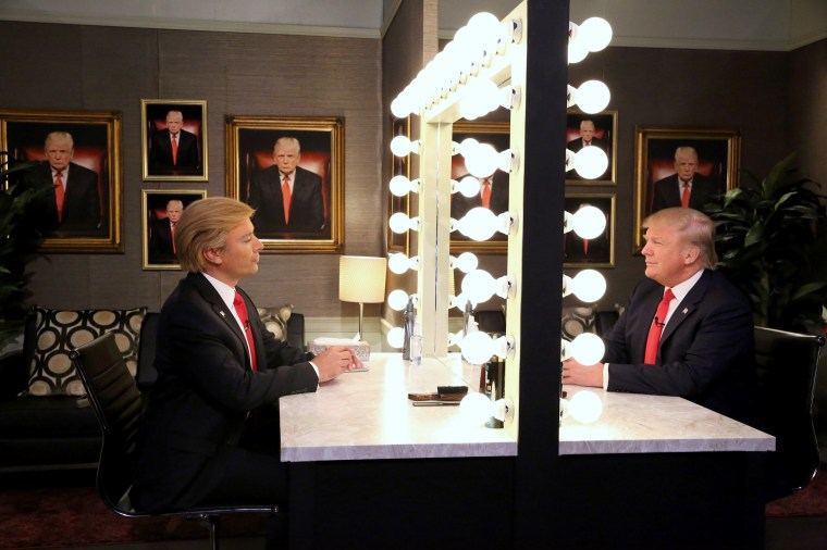 Image: The Tonight Show host Jimmy Fallon and Donald Trump during a skit