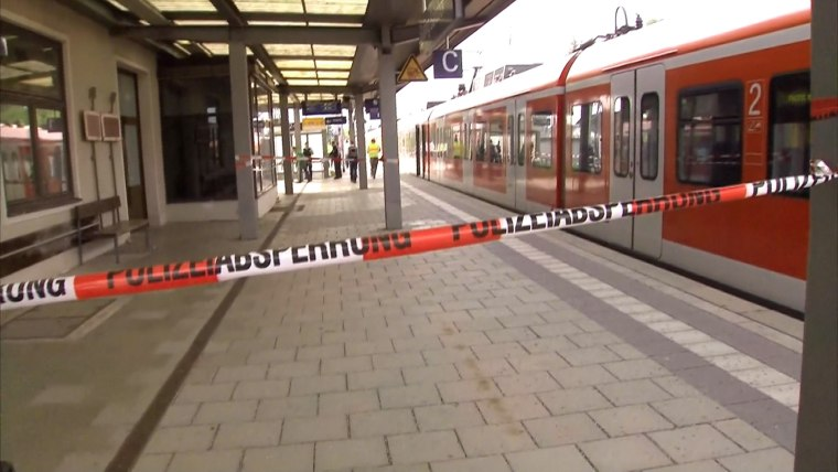 Image: The knife attack happened at this S-Bahn station in Grafing, a suburb of Munich.