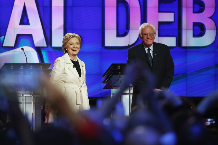 Image: Democratic Presidential candidates Hillary Clinton and Sen. Bernie Sanders (D-VT)  in the Brooklyn Navy Yard