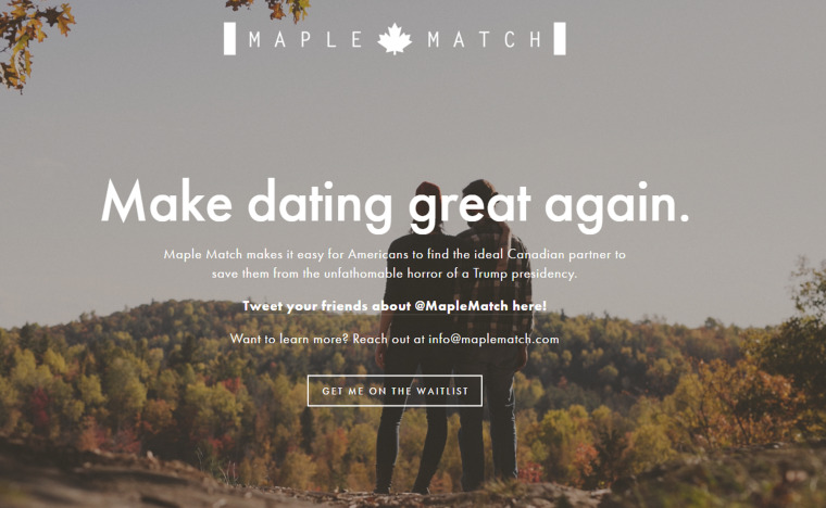 Screengrab of Maple Match's homepage, an upcoming matchmaking service.