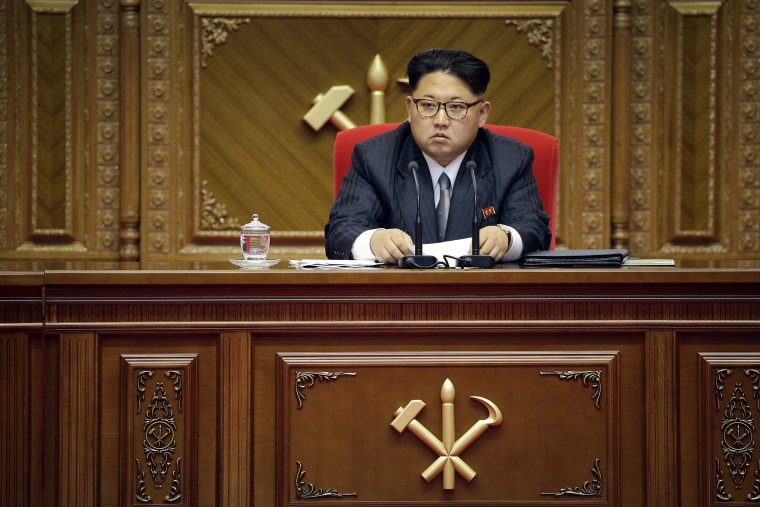 Image: North Korean leader Kim Jong Un listens during the party congress in Pyongyang