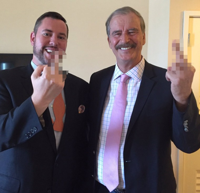 Image: Radio host Ben Mathis and Former Mexico President Vicente Fox after recording a podcast for Kickass Politics.