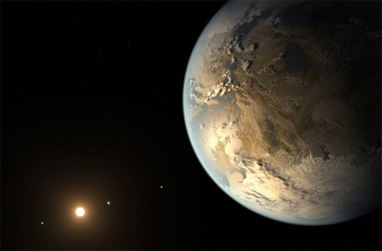 Artist's illustration of Kepler-186f, an exoplanet similar in size to Earth that appears to orbit in the habitable zone of its parent star.
