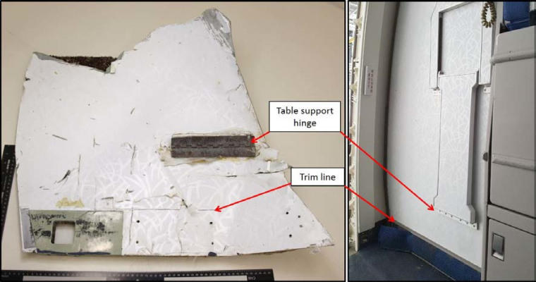 A comparison of one of the recovered items with a MAB Boeing 777 Door R1 panel assembly.