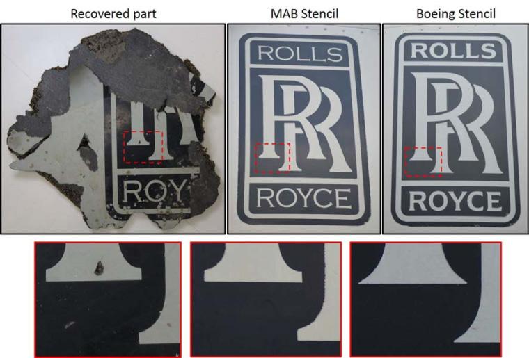 A comparison of Boeing 777 engine cowling stencils.