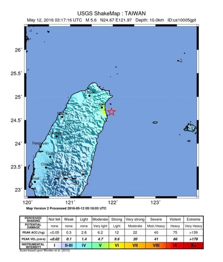 This map posted by the U.S. Geological Survey shows the location of the first quake, a preliminary 5.6-magnitude temblor, off the coast of Taiwan Thursday morning local time, May 12, 2016.
