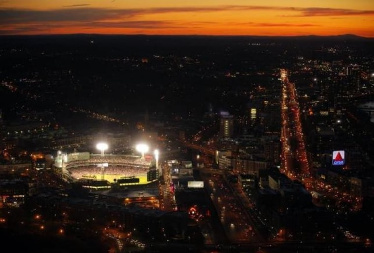 The lights are on at Fenway Park for the MLB American League baseball game between the Texas Rangers and the Boston Red Sox in Boston