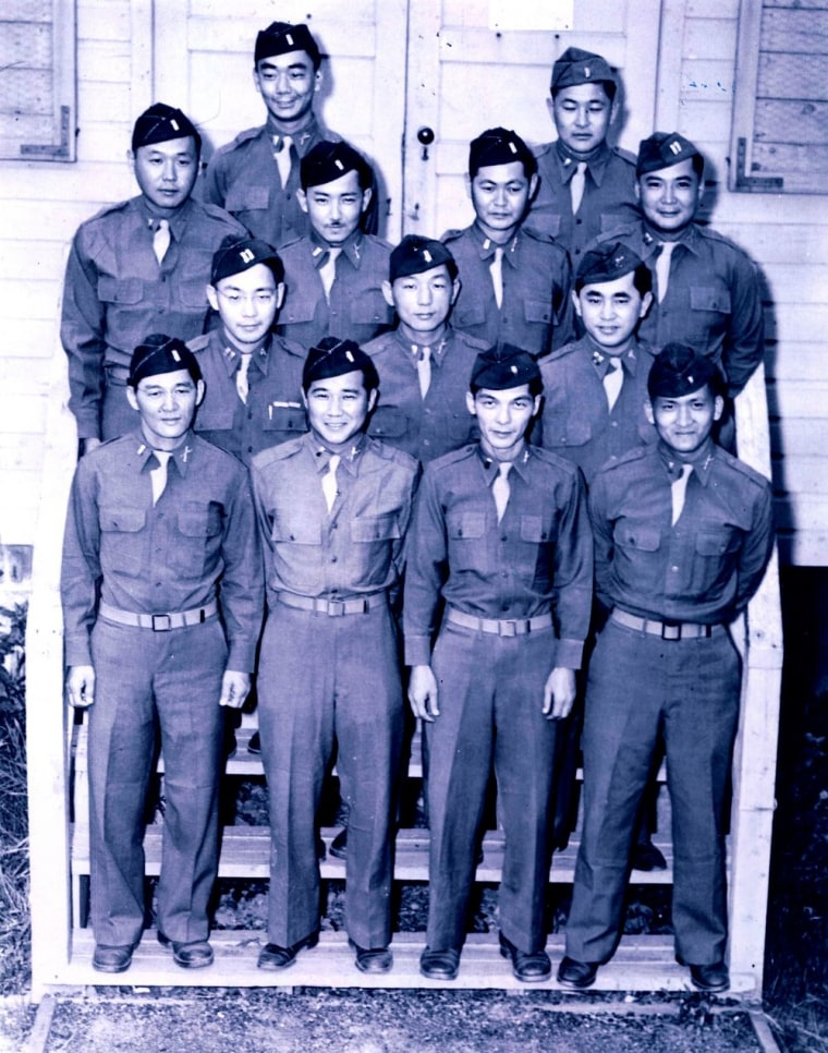 Officers of the primarily-Nisei 100th Infantry Battalion at Camp McCoy during World War II.