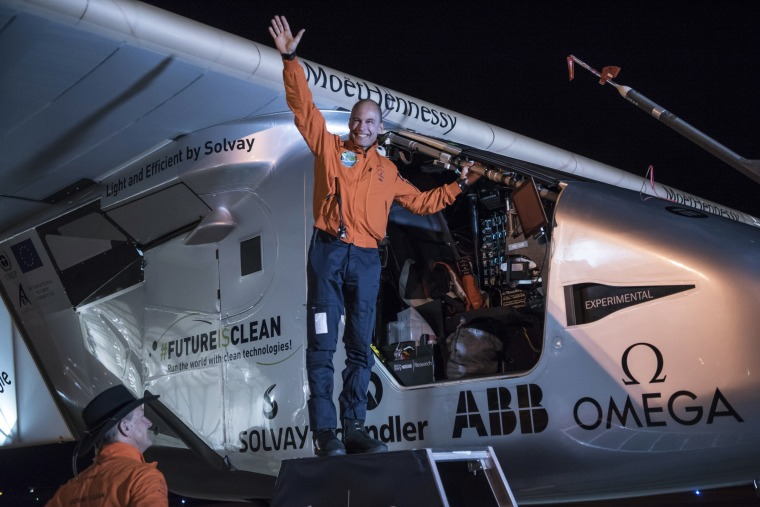 "In this photo provided by Solar Impulse, Bertrand Piccard acknowledges the crowd prior to the takeoff of ""Solar Impulse 2,"" in Goodyear, Ariz., Thursday, May 12, 2016."