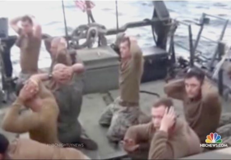 Iran broadcast images of the U.S. sailors on state television, prior to their release.