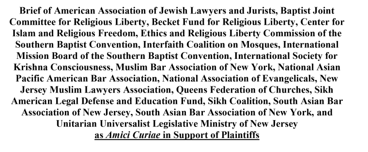 An excerpt of court documents listing the organizations signing on to an amicus brief supporting the Islamic Society of Basking Ridge.