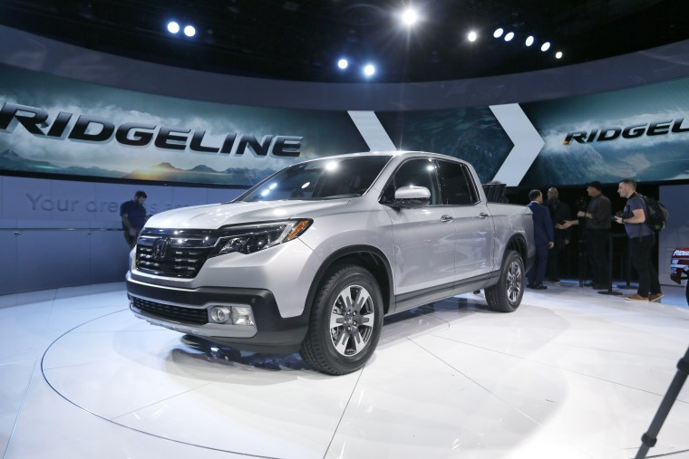 The Honda Ridgeline pickup truck is displayed at the North American International Auto Show on Jan. 11, 2016 in Detroit.