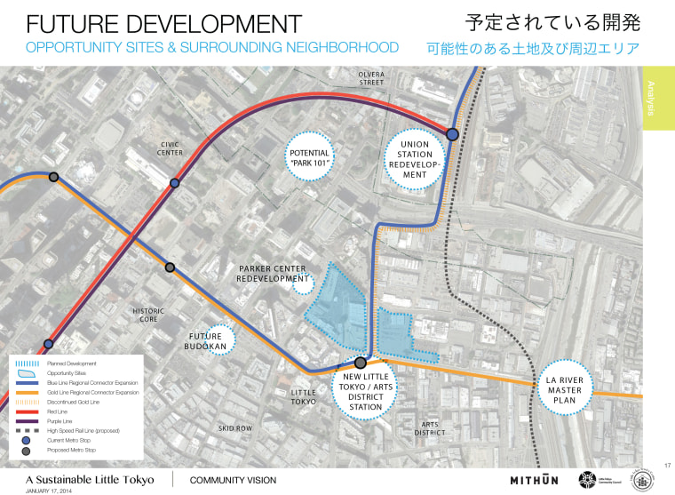 A map of proposed future development in Los Angeles' Little Tokyo.