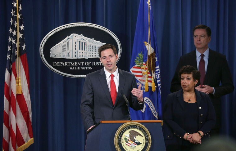 Image: Lynch And Comey Announce Charges In Cyberattack On U.S. Dam Linked To Iran