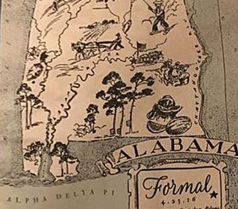 A shirt designed for the Alpha Delta Pi sorority at Samford University, includes imagery of an African-American man eating watermelon and a slave picking cotton.