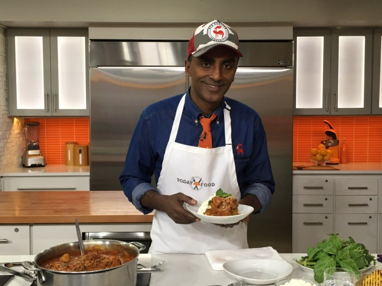 Marcus Samuelsson makes meatballs with charred tomato ramp sauce