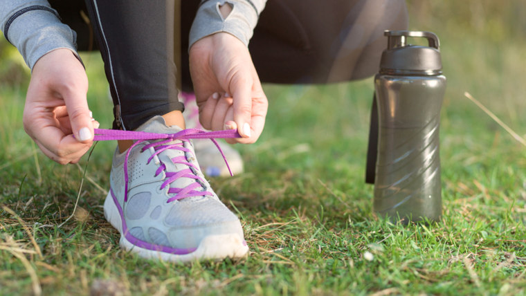 Woman, sneakers, exercise, water bottle