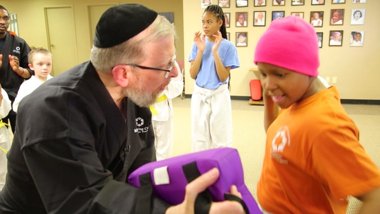 rabbi  teaches martial arts to kids fighting cancer