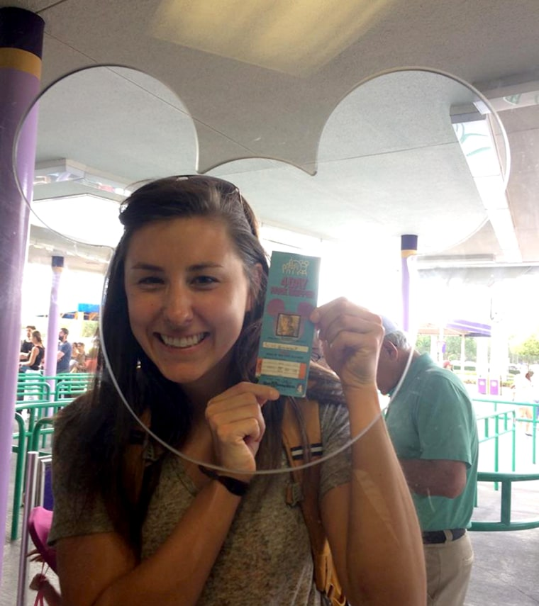 22-year-old Chelsea Herline and her old Disney World ticket