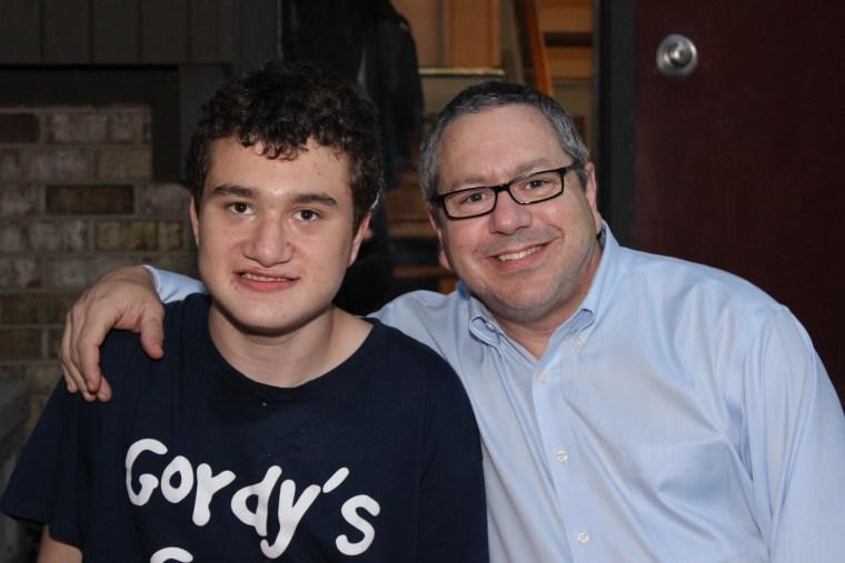 Gordy with his dad, Evan Baylinson