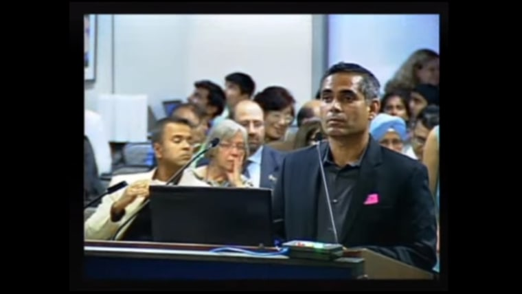 A frame taken from the webcast for a November California Instructional Quality Commission meeting, where dozens of Indian Americans made public comments regarding proposed changes  to sixth and seventh grade textbooks.