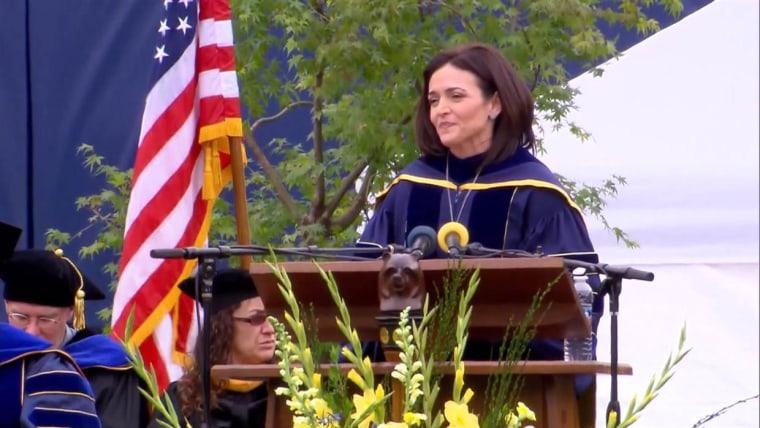 Sheryl Sandberg speaking at UC Berkeley's commencement address on May 14, 2016.