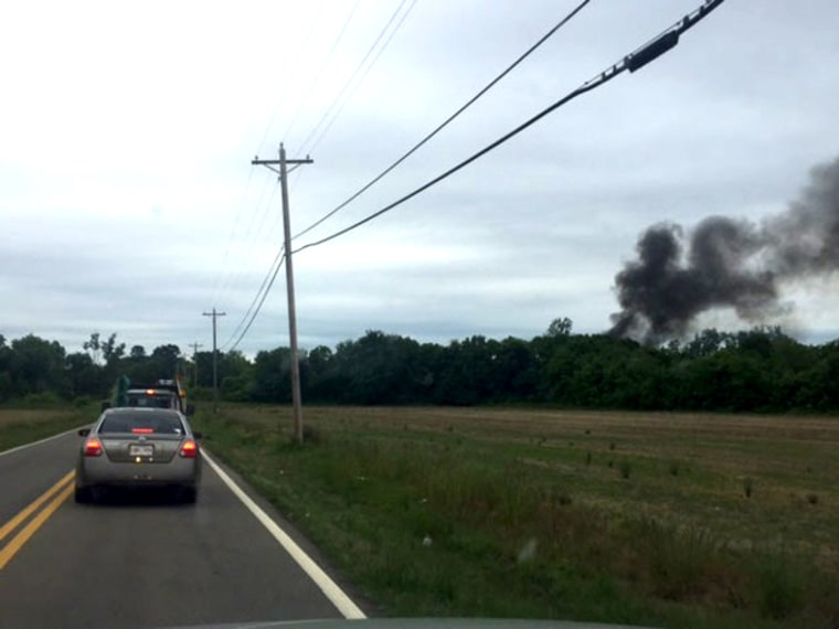 Smoke from a plane crash in Tulepo, Mississippi on May 16.