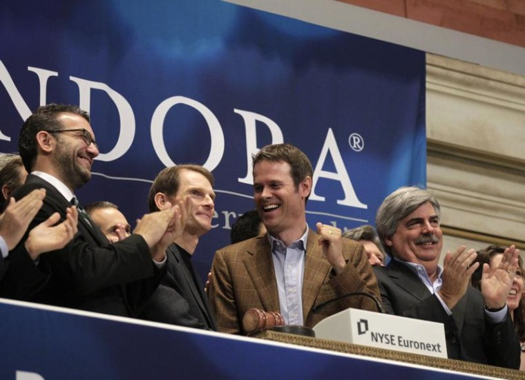 Kennedy, president and CEO, and Westergren, founder and Chief Strategy Officer of Pandora internet radio, ring the opening bell at the New York Stock Exchange