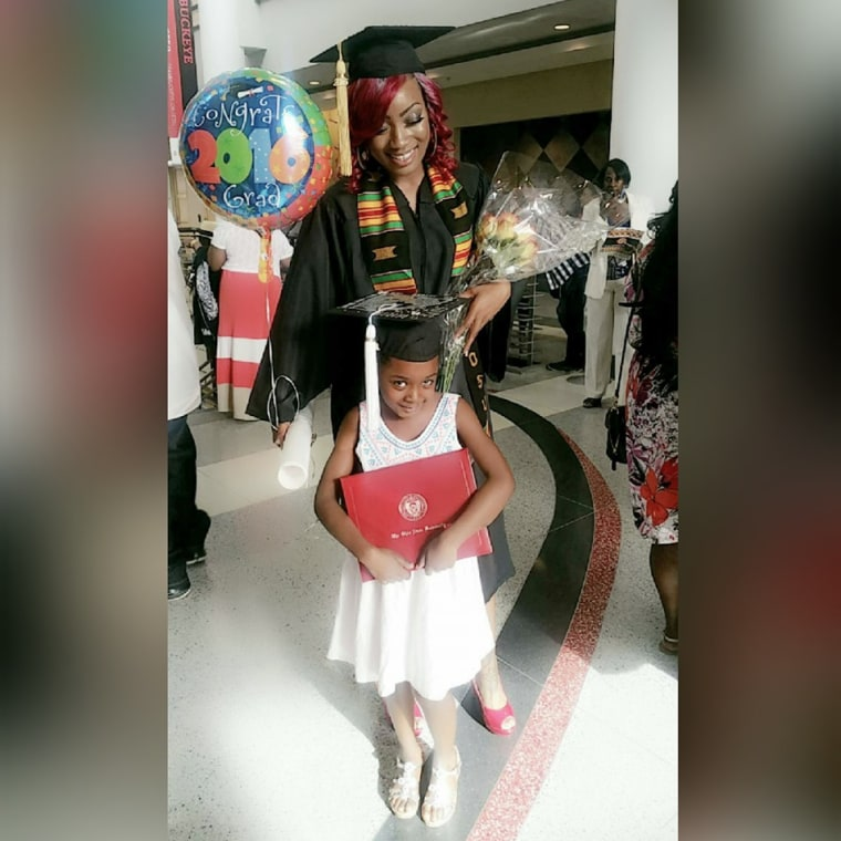 Janel Lanae, a teen mom who grew up in an abusive home, overcame all odds and graduated college this year, debt-free. She's seen with her daughter Malena, 7.