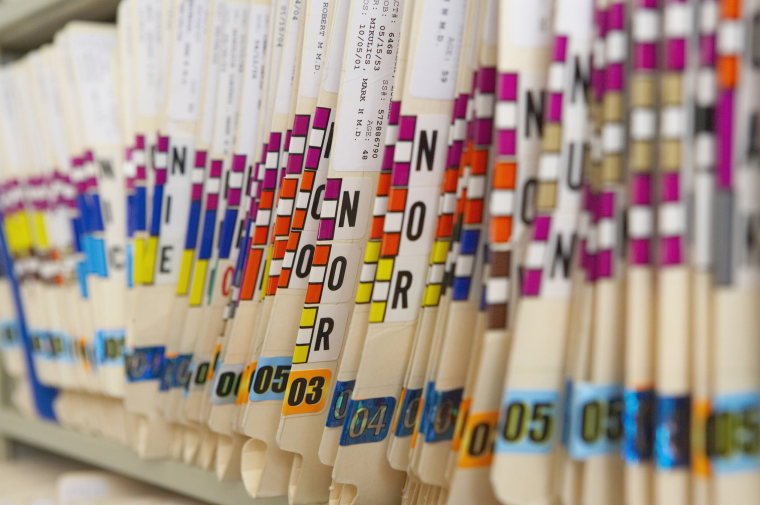 Close up of files in patient records room