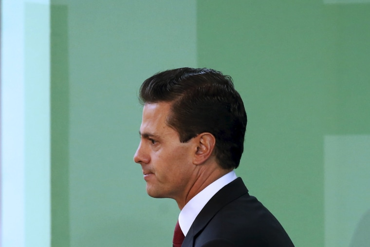 Mexico's President Enrique Pena Nieto is seen during announcing the government plans to legalize marijuana-based medicines in Mexico City, Mexico, April 21, 2016.