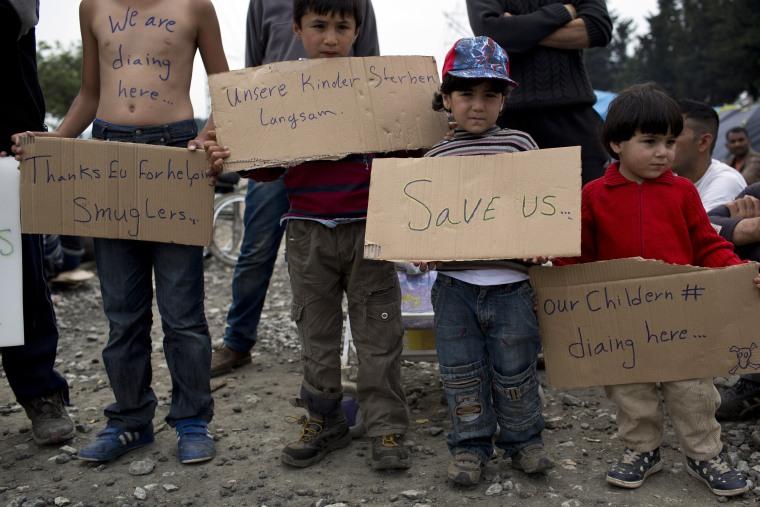 Image: Protest in Idomeni