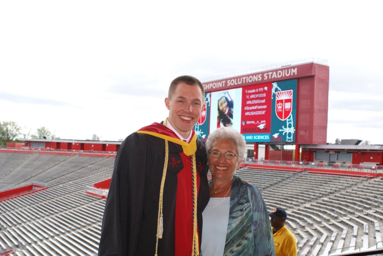Matt Panconi, Rutgers student body president, is seen at graduation with his grandmother, Dianne Totten. Totten wrote three letters to Obama asking him to be the commencement speaker.