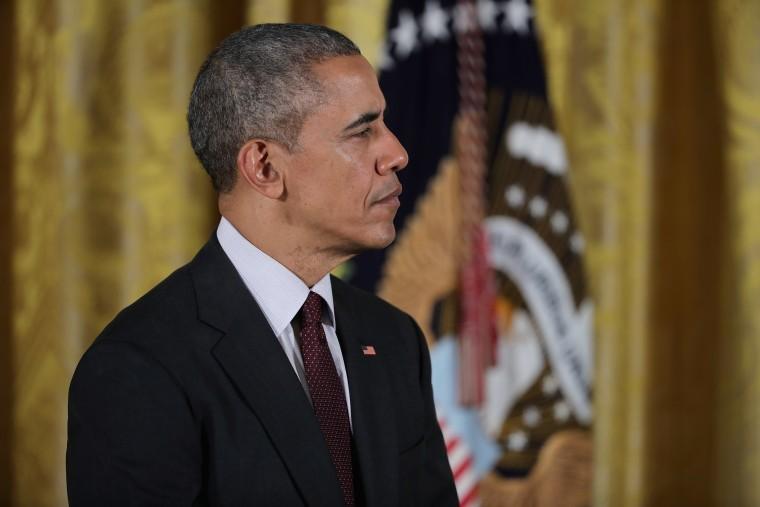 U.S. President Barack Obama presides in the East Room of the White House.