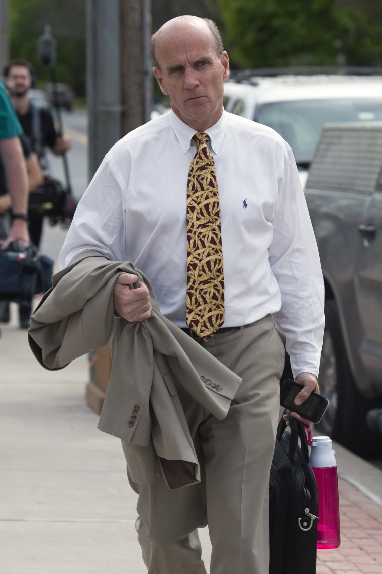 Calvin Harris leaves Schoharie County Court following closing arguments during his fourth trial in Schoharie, N.Y., on Wednesday, May 18, 2016. The prosecutor in the case of Harris, a wealthy New York man being tried a fourth time in the 2001 death of his estranged wife says the defendant was consumed with fear.